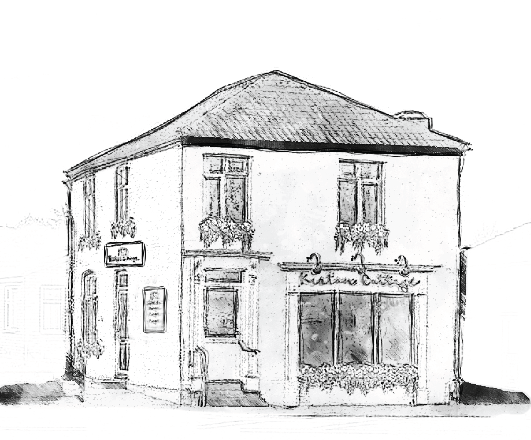 sketch -drawing of kirton cottage restaurant